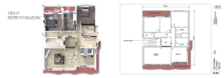 Fotografia principale Immobile[SV04225]: APPARTAMENTO A SENIGALLIA : Via Trieste, 2 piano, 160 mq (ingresso, salone, tinello, cucina, 3 camere da letto, 2 bagni, ripostiglio, due terrazzi) + garage. Da Ristrutturare.